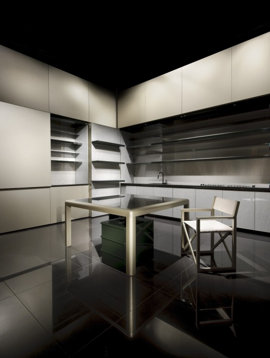 Disappearing Sleek and Polish Kitchen Design – Calyx from Armani Casa