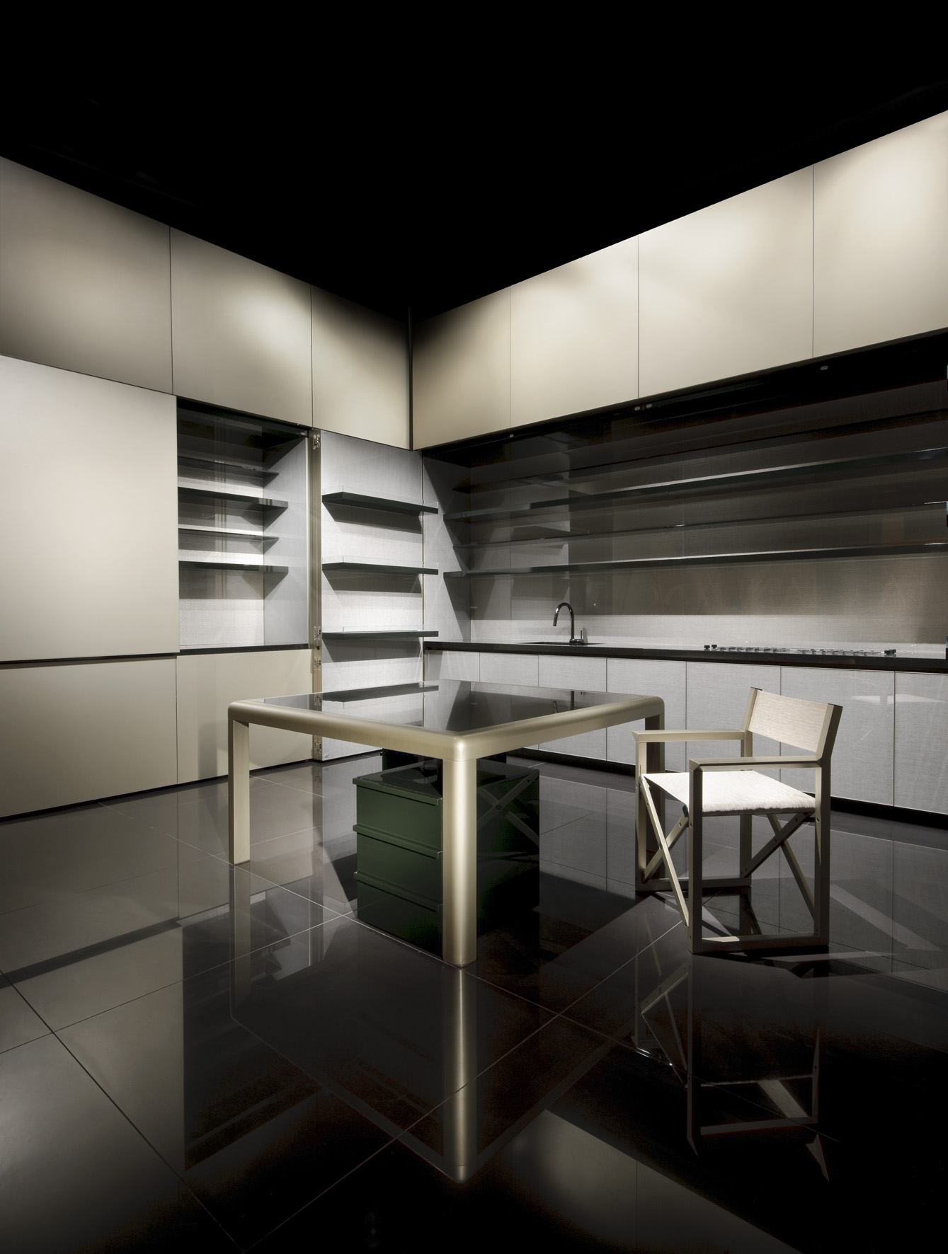 disappearing sleek and polish kitchen design - calyx from armani casa
