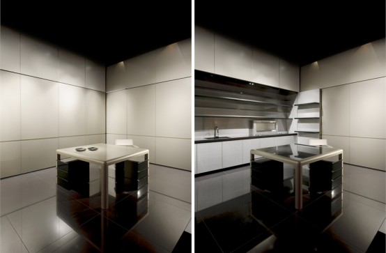 Disappearing Sleek And Polish Kitchen Design By Armani Casa