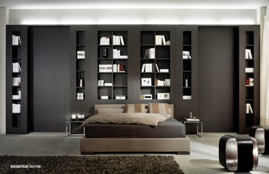 Bedroom Wall Shelving Units Wall-shelving-units-black