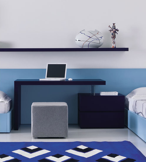 Domino Blue Desk With Drawers