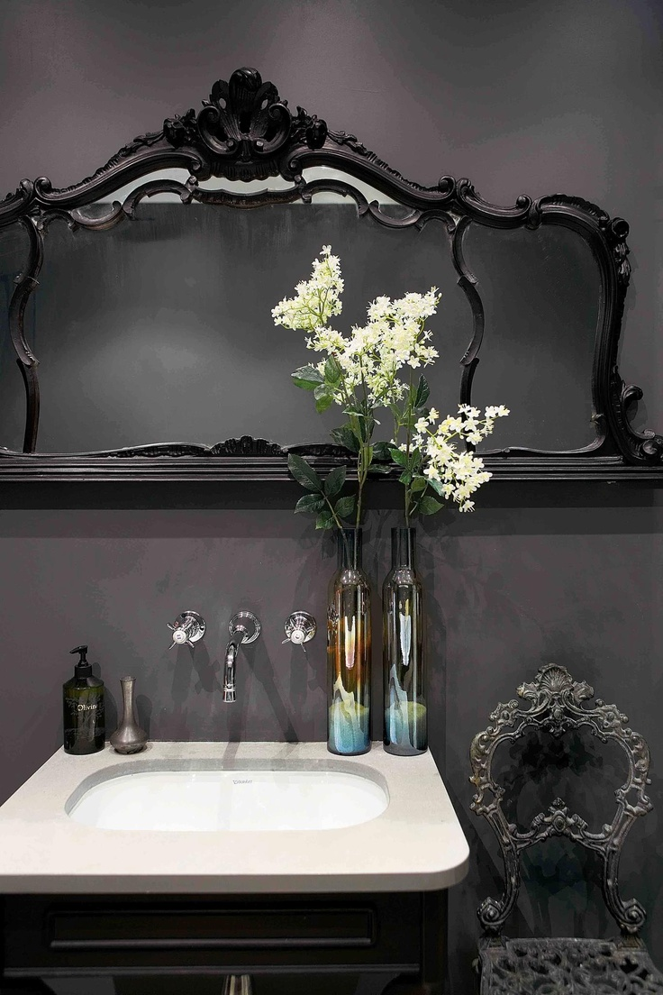22 dramatic gothic bathroom designs ideas digsdigs for Black modern decor