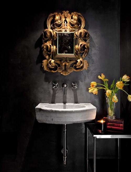 Home Library Decorating Ideas: 22 Dramatic Gothic Bathroom Designs Ideas