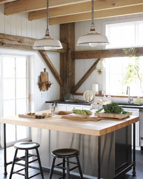 Kitchen Island Lighting Rustic: 39 Dream Barn Kitchen Designs