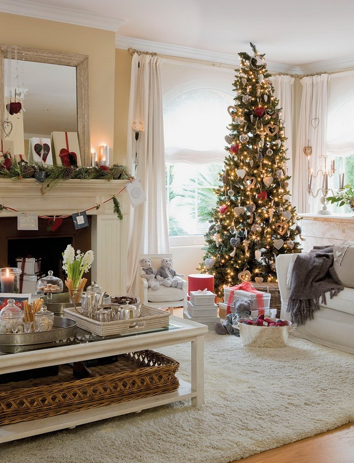 55 dreamy christmas living room d cor ideas digsdigs. Black Bedroom Furniture Sets. Home Design Ideas