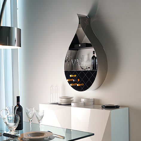 Contemporary Wall Wine Rack Shaped Like a Drop
