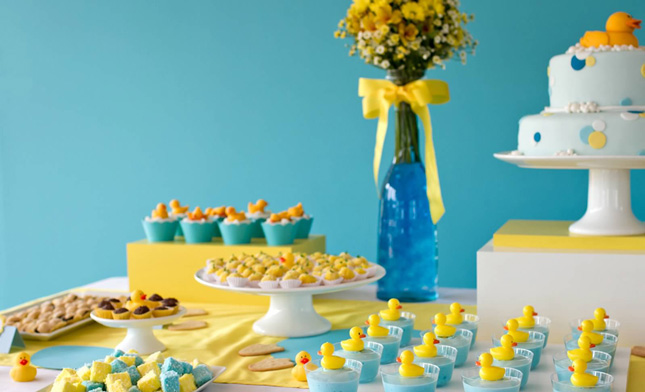 duck-themed dessert table for a gender neutral baby shower