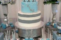 dusty blue dessert table  for a boy baby shower
