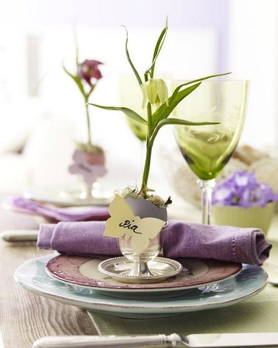pastel dyed eggs with spring blooms inside are great to mark each place setting at an Easter party