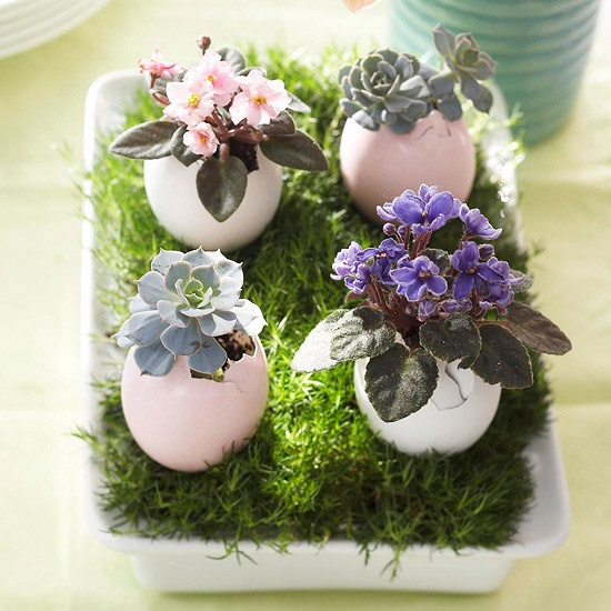 a tray with grass, pastel eggs with succulents and bright blooms is a gorgeous Easter centerpiece