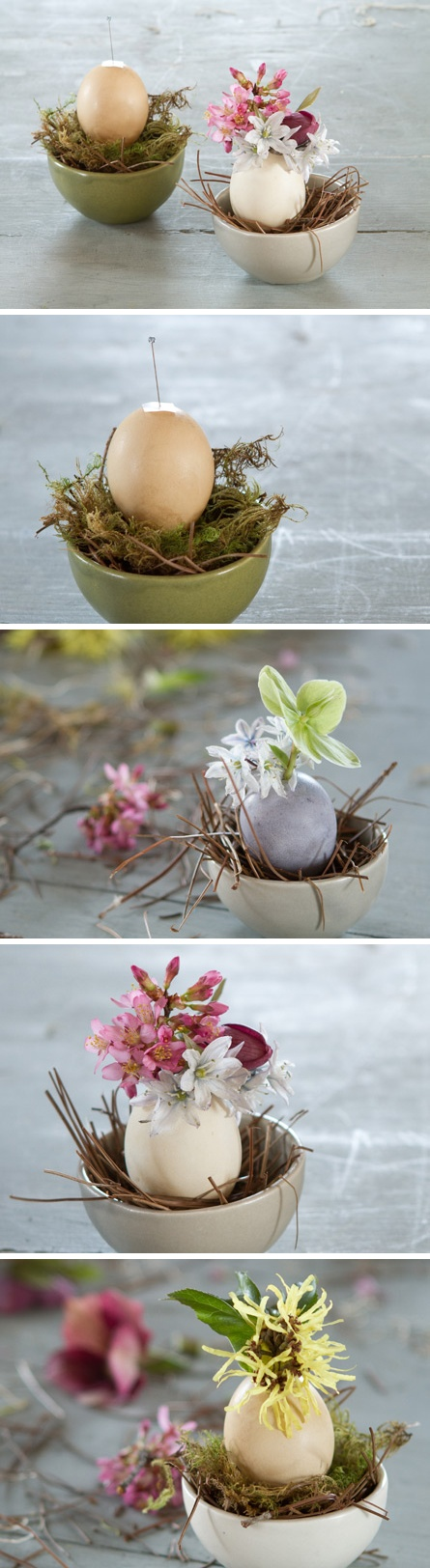 pastel bowls with moss and eggs used as vases for spring blooms is great Easter decor