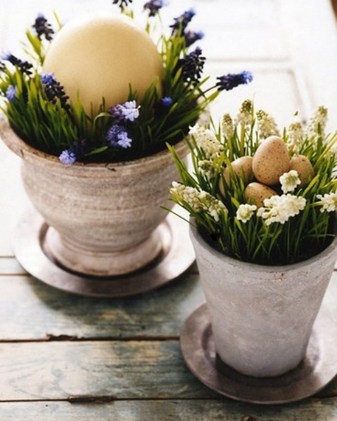 pots with grass and spring bulbs plus fake speckled eggs for Easter decor