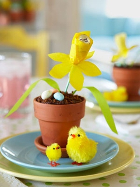 a pot with chocolate pudding, candy eggs and a yellow paper bloom plus chicks for Easter