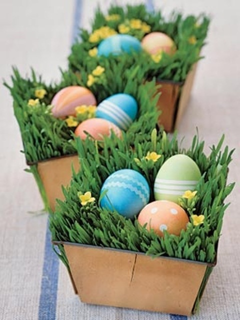 boxes with grass and yellow blooms and colorful fake Easter eggs are amazing for Easter