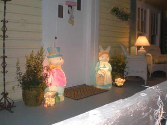 bright Easter-themed bunny outdoor lamps are a fun idea to style your porch