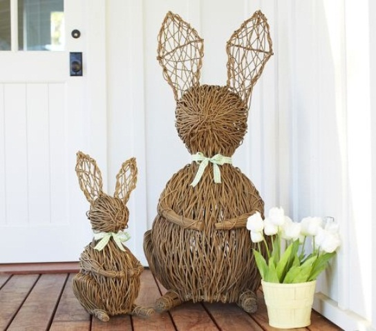 funny vine bunnies and potted white tulips are a fun and whimsy idea for Easter decor