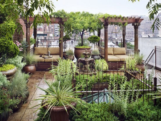 Eastern Style Rooftop Terrace Of A New York Duplex