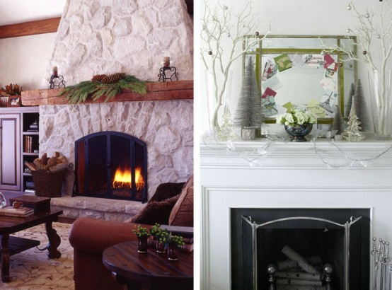 Holiday fireplace decorations