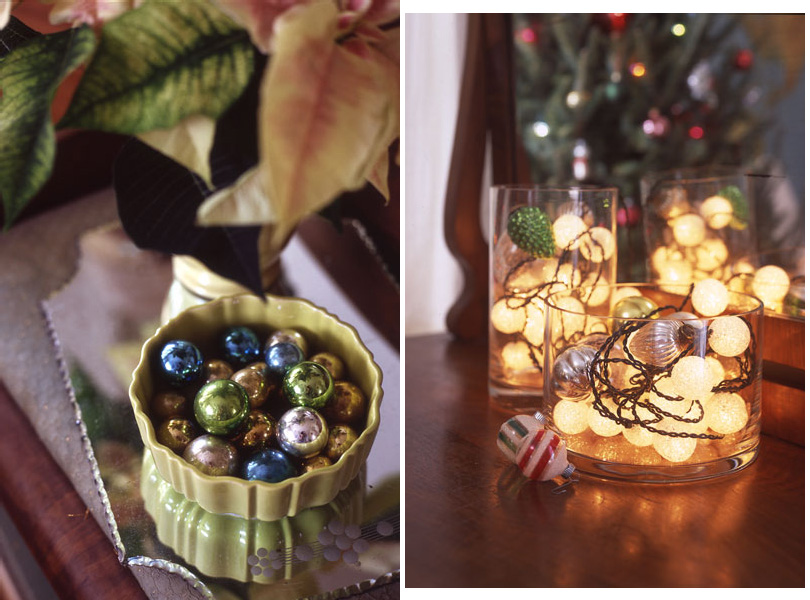 Holiday ornaments in vases