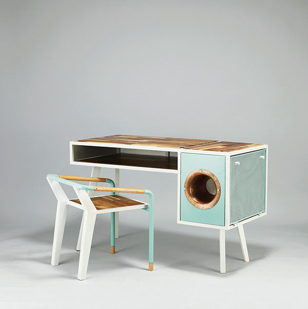 Picture Of eccentric soundbox desk with a built in docking station  2