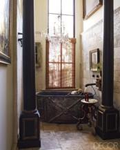 Eclectic Bathroom With Zinc Bathtub