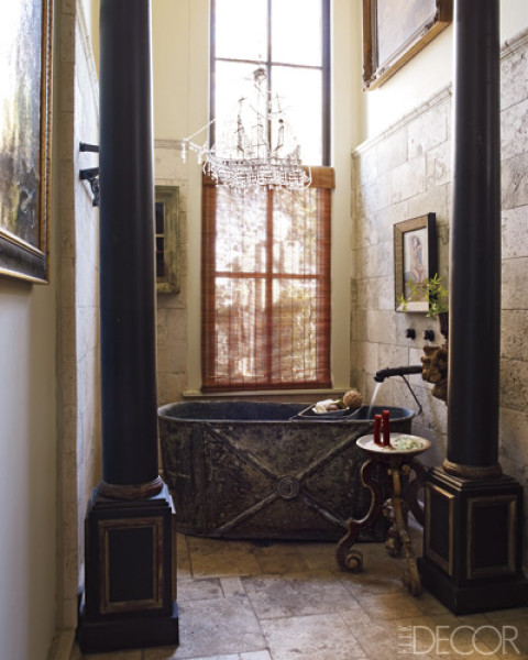Eclectic Bathroom With Zinc Bathtub