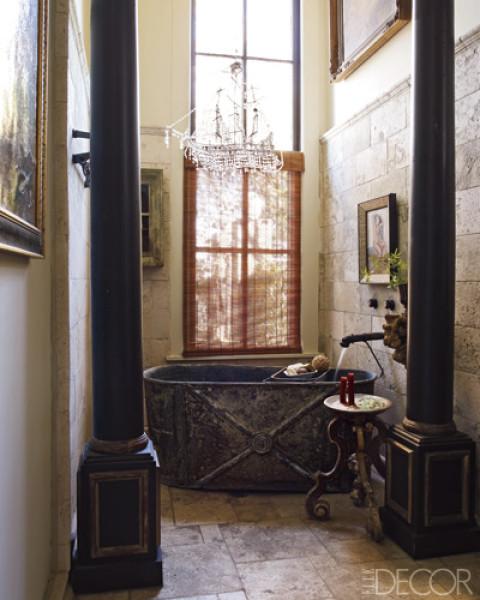 Eclectic Bathroom With A Zinc Bathtub