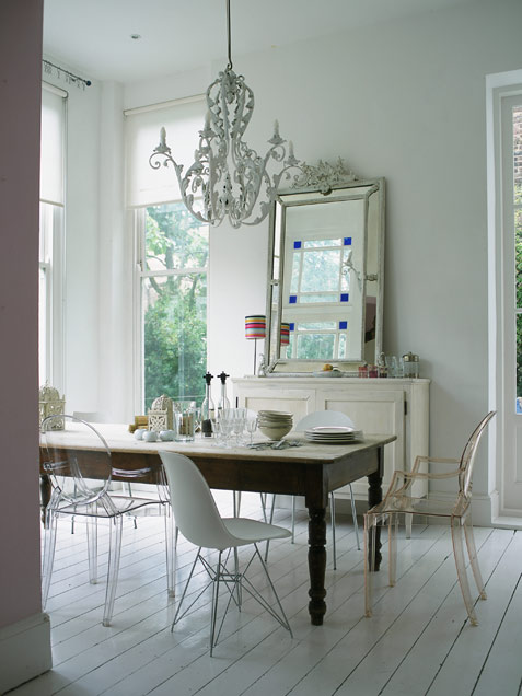 Eclectic Dining Area In Neutral Colors