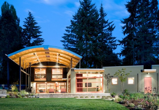 Eclectic House Design With Arched Metal Roof