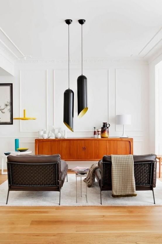eclectic sensational apartment with mid-century furniture - digsdigs