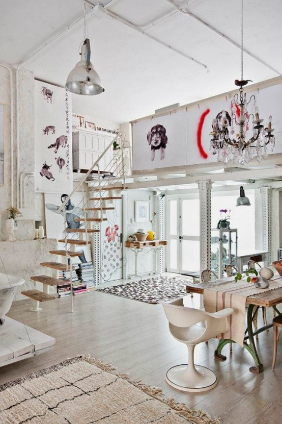 Eclectic White Loft With True Artistic Influence In Design DigsDigs
