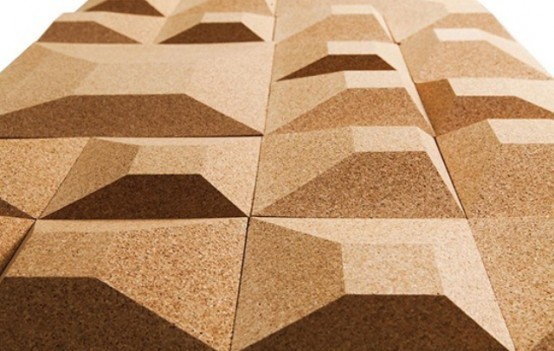 Green trend 19 eco friendly and recyclable ideas for home for Cork flooring on walls