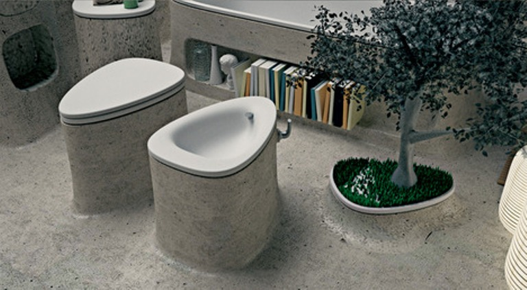 Picture of eco friendly bathroom of endless concrete for Eco friendly bathroom design ideas