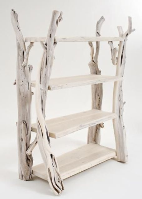 a unique storage unit of whitewashed driftwood and shelves is a lovely idea for a shabby chic or rustic interior and is an eco friendly solution