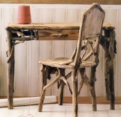 a driftwood chair and a matching desk can be made of driftwood by you and you will get very creative and eco-friendly furniture easily