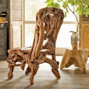 a unique chair made of driftwood is a lovely idea for a coastal, beach or just rustic space