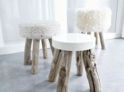 small and cool stools with driftwood legs and various mismatching seats are amazing for your modern coastal interior