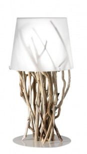 a modern and lovely table lamp of driftwood as a base and a white, semi sheer lampshade is a veyr fresh and eco-friendly idea