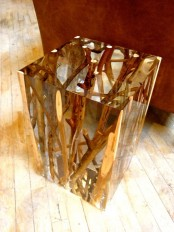 a beautiful and edgy small side table with driftwood and branches inside that are seen through the sheer cube very well is a lovely way to add a natural feel to your space