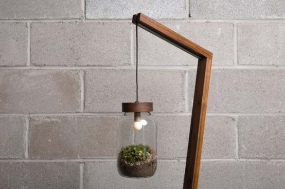 Eco-Friendly Lamp With A Terrarium Lampshade