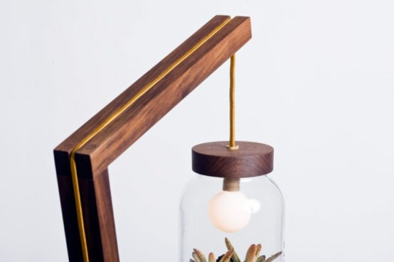Eco Friendly Lamp With A Terrarium Lampshade