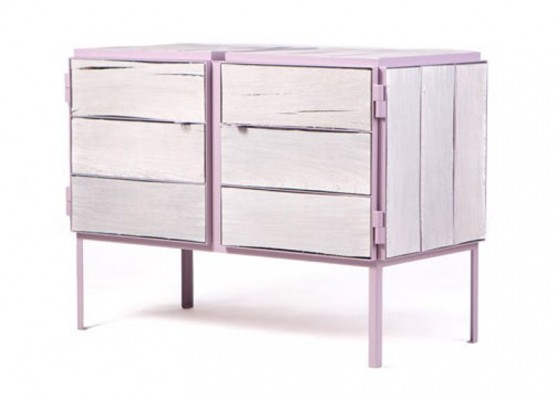 Eco-Friendly Lavender Dresser Of Newspaper Wood