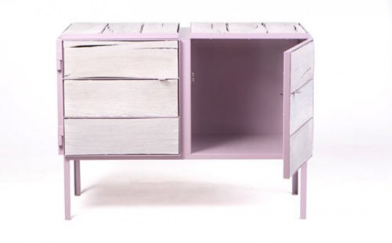 Eco Friendly Lavender Dresser Of Newspaper Wood