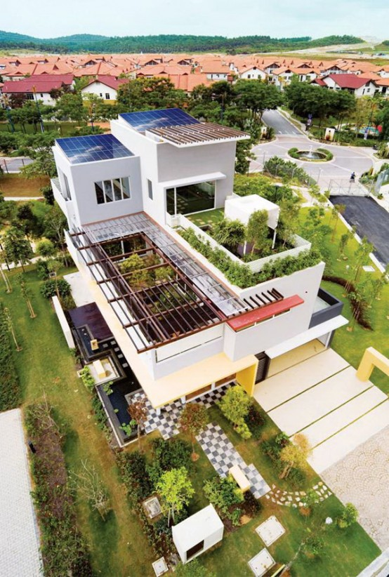 Tropical House Design with Cool Rooftop Garden and Canopy – Setia Eco Park Villa by TWS & Partners