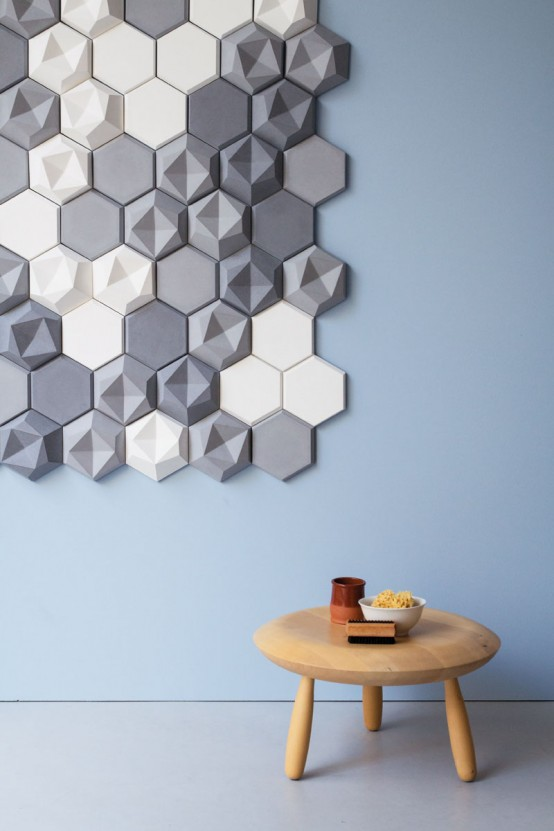 Edgy Hexagonal Concrete Tiles For Eye Catching Decor