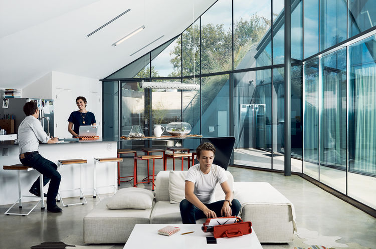 Picture Of edgy modern white home with two geometric–volumes  2