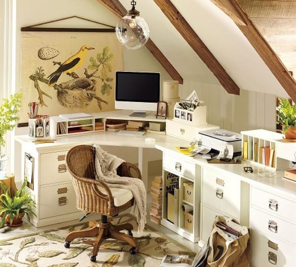 a neutral feminine home office with wooden beams, a large curved desk, potted greenery and botanical artworks