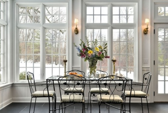 Elegant And Stylish Veranda With A Fireplace