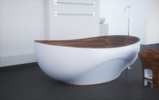 Elegant Bathroom Appliances And Furniture With Wooden Inserts by Kashani