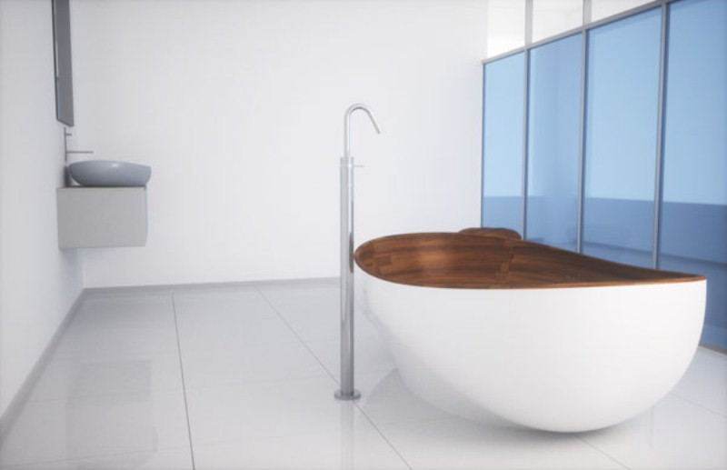 elegant bathroom appliances and furniture with wooden